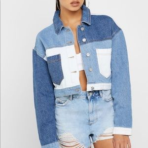 Colourblock cropped denim jacket